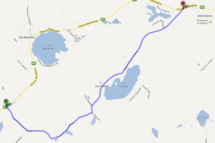 Carte du chemin du Lac Corbeau